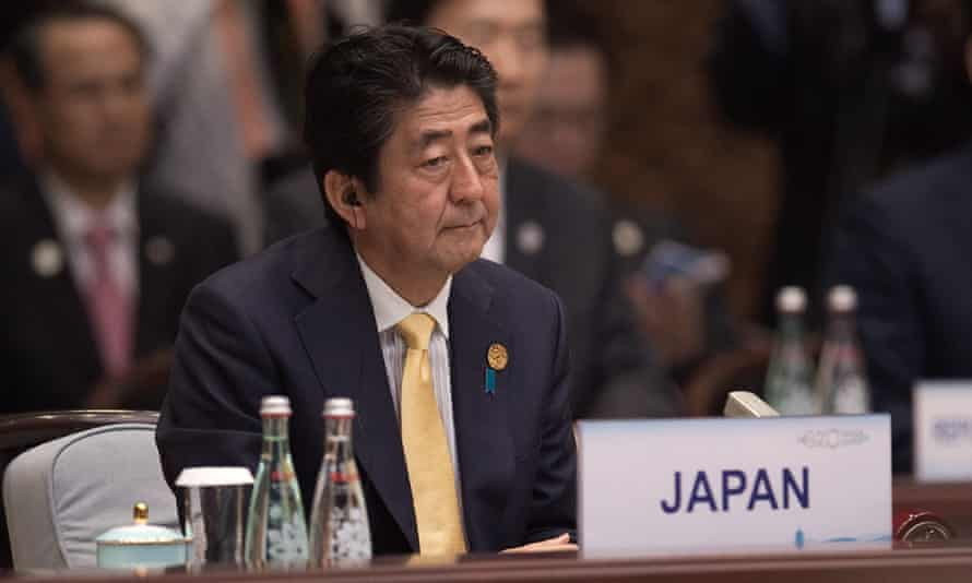 Japan's prime minister, Shinzo Abe, at the G20 summit