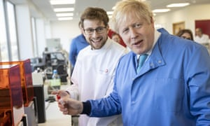 Boris Johnson Visits a laboratory in Bedford in early March