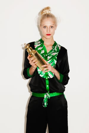 Black and green silk shirt and trousers, bun holder gold cocktail shaker Anthropologie