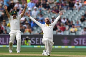 Nathan Lyon with his majestic bird of paradise flourish to his appeal.