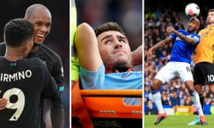 Fabinho shone for Liverpool, Aymeric Laporte was stretchered off for Manchester City and Fabian Delph stood out in Everton's win over Wolves.