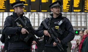 Armed officers patrol at London Bridge station