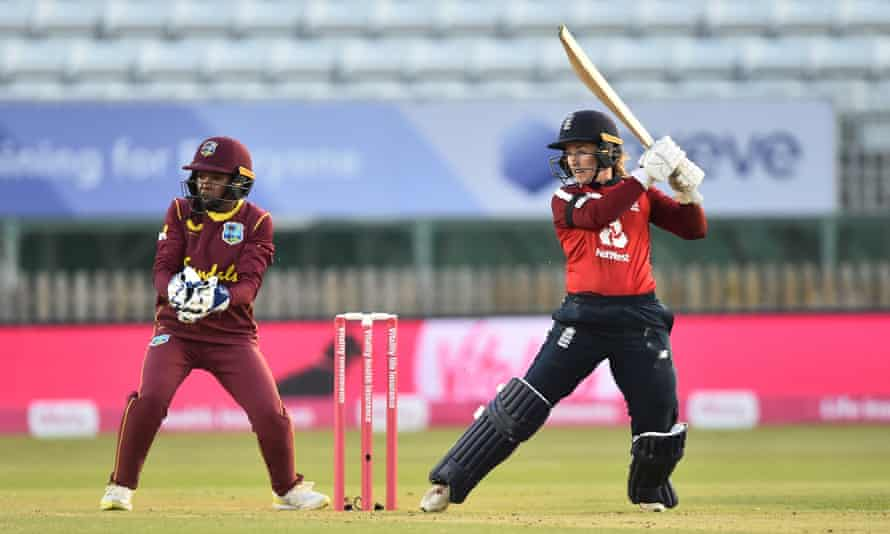 Tammy Beaumont hits out on her way to a half-century against West Indies in the first T20 International at Derby