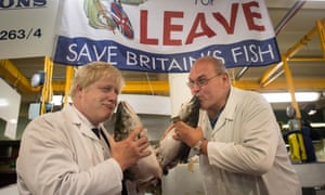 Boris Johnson (left) at Billingsgate fish market in London.