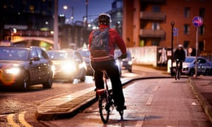 Cyclists in Manchester city centre