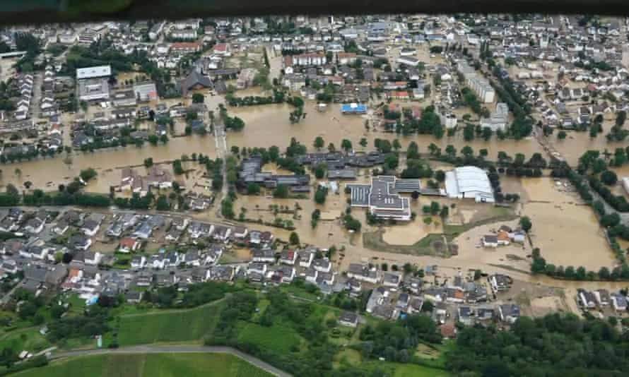 Aerial footage of the floods in Bad Neuenahr - Ahrweiler.