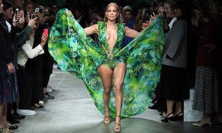 Jennifer Lopez walks the runway at the Versace show