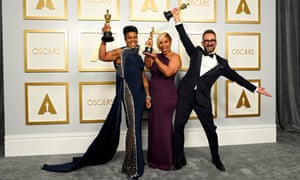 Mia Neal and Jamika Wilson, with Sergio Lopez-Rivera, who became the first black women to win for best makeup and hairstyling for Ma Rainey's Black Bottom