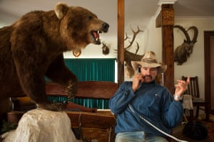 Farmer and shooter Ian Hengstberger with his stuffed bear