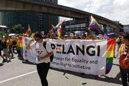 LGBT rights group the Pelangi group marches in Kuala Lumpur.