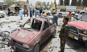 Security personnel at the scene of the suicide attack in Quetta