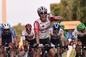 Australia's Caleb Ewan celebrates winning the final stage after coming from nowhere.