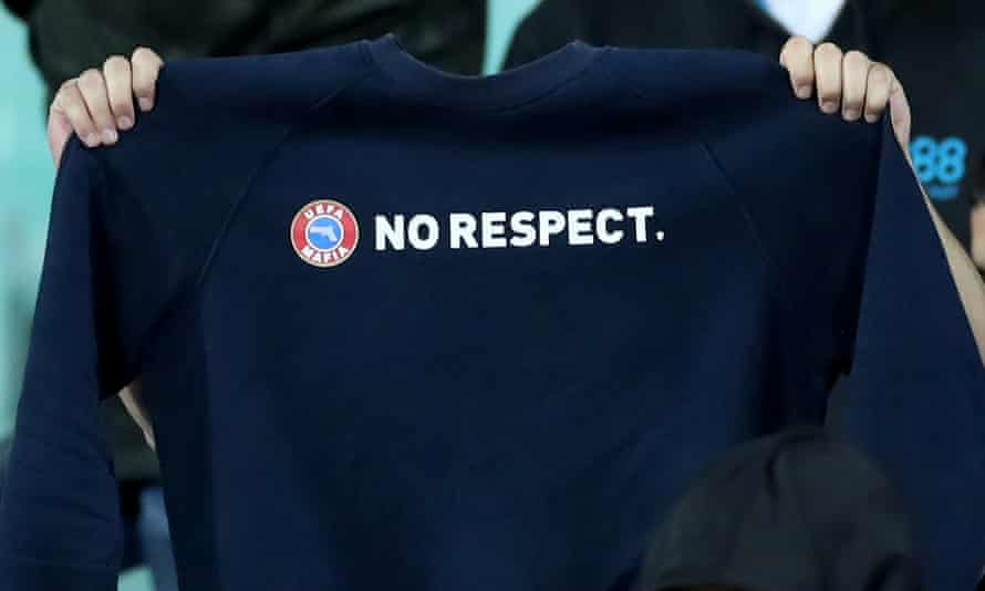 A Bulgaria fan holds up a 'No Respect' message directed at Uefa during the Euro 2020 qualifier in which England players were racially abused.