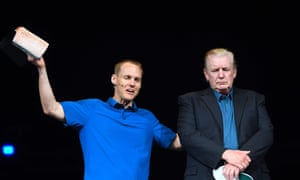 US-POLITICS-TRUMPUS President Donald Trump looks on as he visits McLean Bible Church in Vienna, Virginia on June 2, 2019, to visit with Pastor David Platt and pray for the victims and community of Virginia Beach. - Police in Virginia searched for the reason why a city engineer fired indiscriminately on his workplace colleagues, turning a municipal building into a war zone as he killed at least 12 people and wounded four before being fatally shot himself on May 31, 2019. (Photo by Jim WATSON / AFP)JIM WATSON/AFP/Getty Images