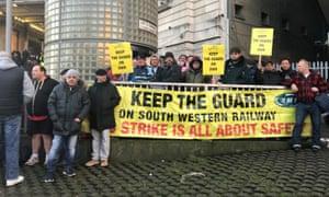 Striking workers outside Waterloo station