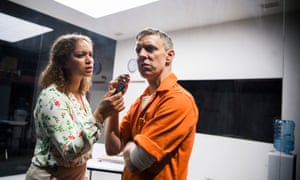 Angela Griffin as Gloria and Trevor White as Rick in Building the Wall by Robert Schenkkan at Park theatre, London. Directed by Jez Bond.