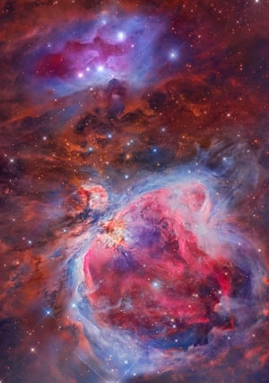 Mosaic of the Great Orion & Running Man Nebula Miguel Angel García Borrella and Lluis Romero Ventura (Spain). The Orion Nebula, also known as Messier 42, M42, or NGC 1976, is a diffuse nebula situated in the Milky Way, south of Orion's Belt in the constellation of Orion. It is one of the brightest nebulae and is visible to the naked eye during a clear night sky. M42 is 1270 light years from our planet and is the closest region of massive star formation to Earth. It is estimated to be 24 light years across and it has a mass of about 2,000 times more than that of the Sun. This image is the result of the efforts of two astrophotographers using different equipment from their observatories. Located hundreds of kilometres away from each other, they chose the Orion Sword are as a common target to render. The software suites used in this image are Maxim DL, Pixinsight and Photoshop CC 2017.