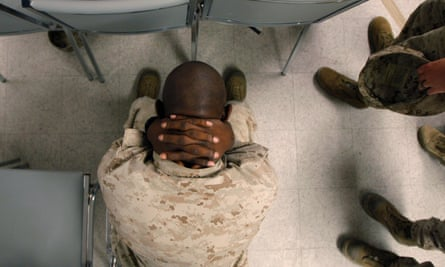 A US marine waiting to take psychological tests.
