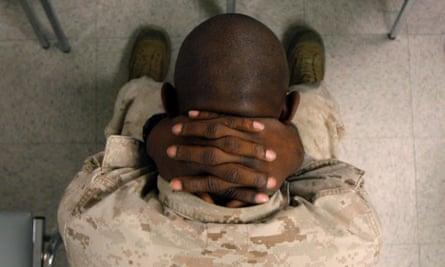 A marine waits to take psychological tests in Twentynine Palms, California