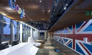 The reception area, complete with with giant Union flags, in Google's London headquarters.