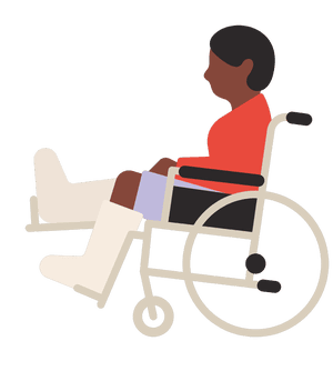 Illustration of person in wheelchair with legs in plaster