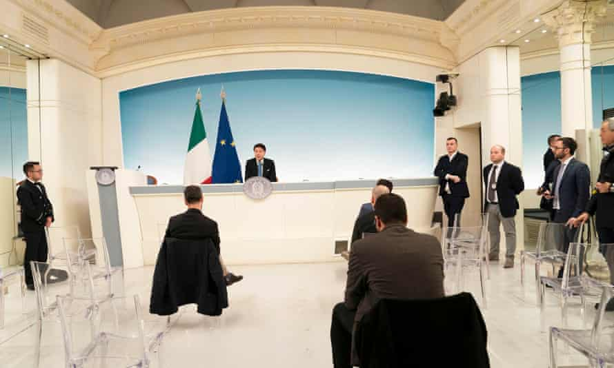 A press conference in Rome, Italy where the prime minister, Giuseppe Conte, announced extending coronavirus quarantine measures.