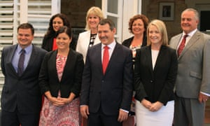 Northern Territory chief minister Michael Gunner (centre) stands with his cabinet after a swearing in ceremony in 2016. Ken Vowles is on the far left