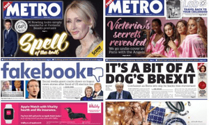 Punning Metro front pages: today's, right, and one from last week.