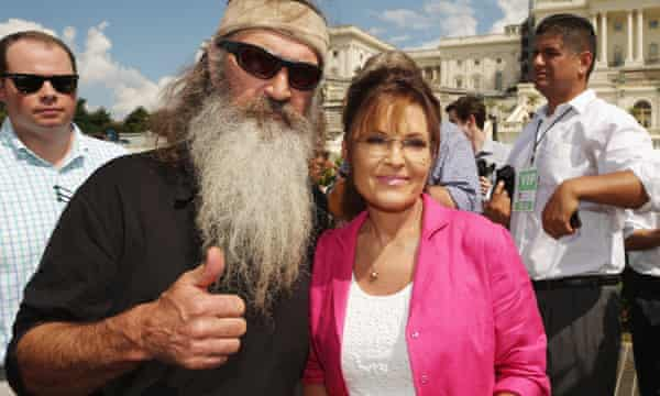 Reality television personality Phil Robertson and Sarah Palin both spoke at the rally