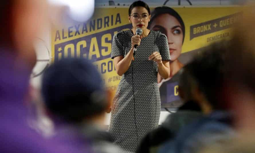 Alexandria Ocasio-Cortez delivers remarks at a campaign event at the Sabor Latino restaurant in Queens, New York on 3 November.