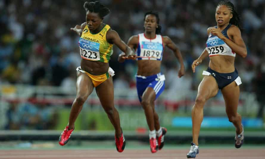 Felix (right) finishes second after Jamaica's Veronica Campbell in the 200m final at the 2004 Athens Olympics. She was just 18 and will now compete in a fifth game in Tokyo.