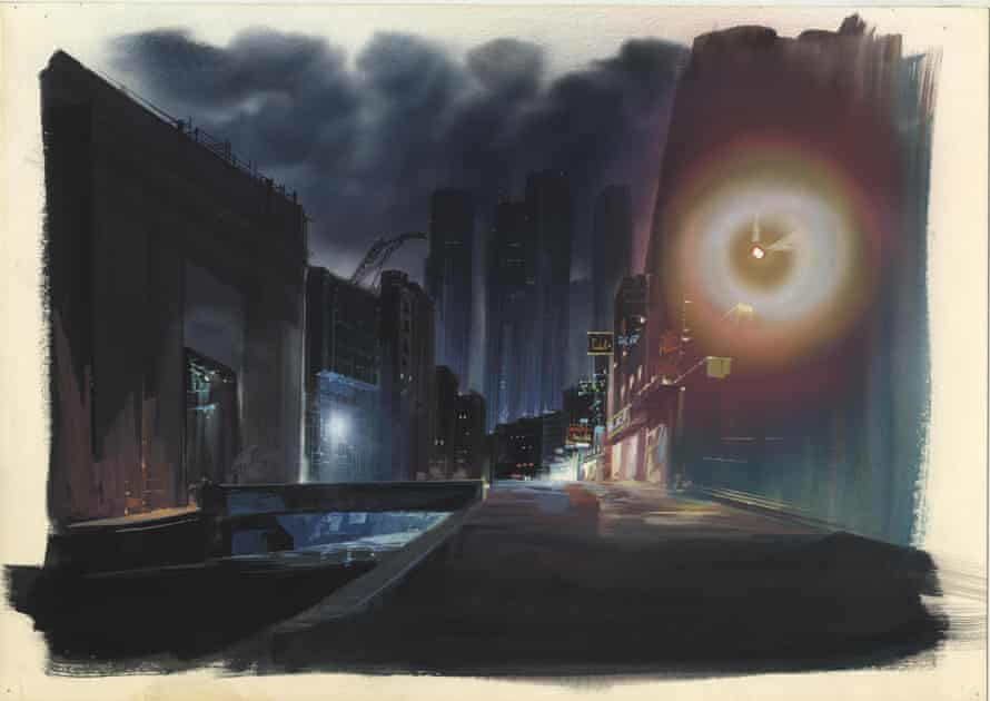 An image board painted by Ogura in gouache on paper for Ghost in the Shell (1995)