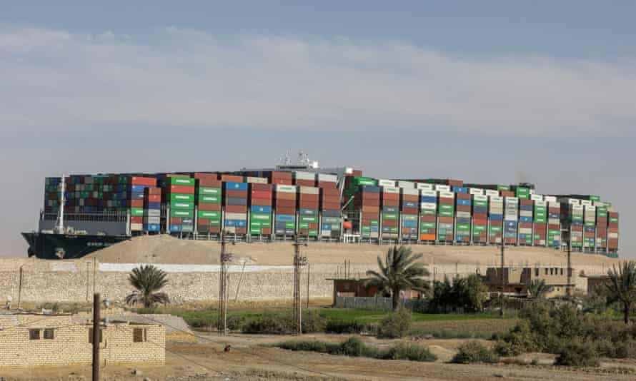 The Ever Given after it was fully floated in the Suez Canal on 29 March.
