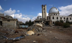 The destroyed minaret of the al-Iman mosque, which was reported hit by Syrian regime air strikes.
