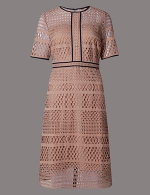 Laser-cut lace dress