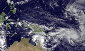 Cyclones and tropical storms head for landfall in the Pacific Ocean, 11 March 2015.