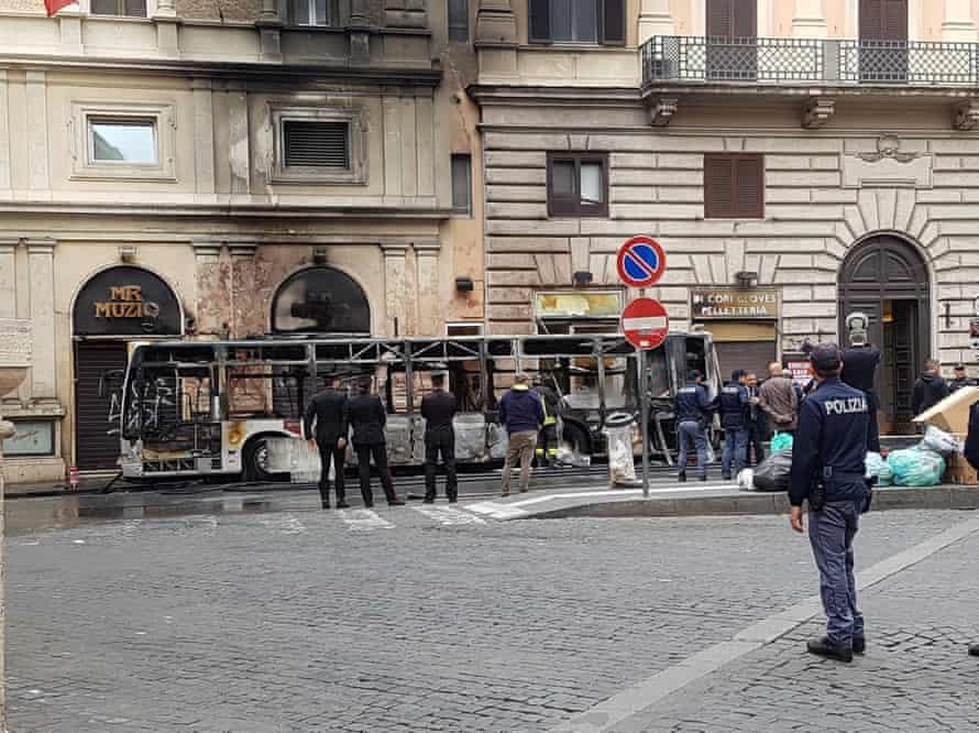 The remains of the bus in Via del Titone.