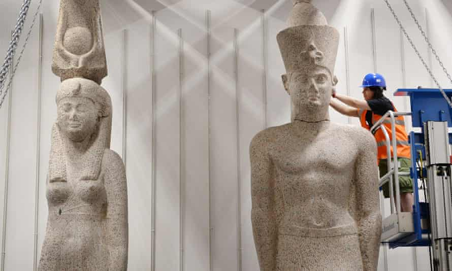 The two statues of a king and queen, Ptolemy II and Arsinoe