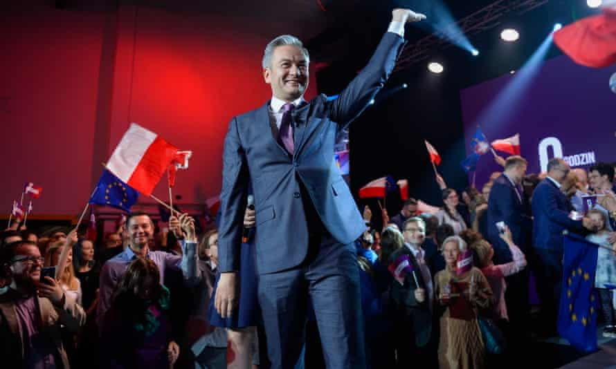 Robert Biedroń of the Left alliance, which returns to the Polish parliament after Sunday's elections.