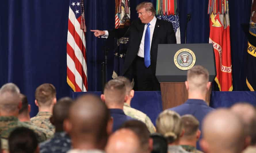 Donald Trump addresses the audience during his speech on Afghanistan.