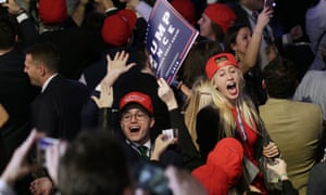 People React To Election Results In USA Supporters of Republican nominee for President Donald Trump react to returns as the come in on televisions around the room on Election Day of the 2016 US Trump supporters cheer as the results of the 2016 presidential election come in