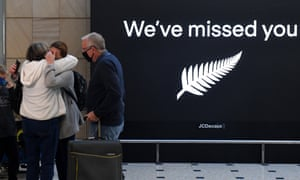 New Zealand travellers at Sydney International Airport, Sydney, Monday, April 19, 2021. From Sunday night, travellers from Australia were once again able to cross the Tasman quarantine-free after more than a year of tight restrictions.