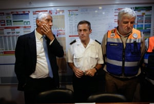 Portuguese President Marcelo Rebelo de Sousa stands with Secretary of State of Internal Administration Jorge Gomes during a visit to the command center of Civil Protection in Pedrogao Grande, Leiria District