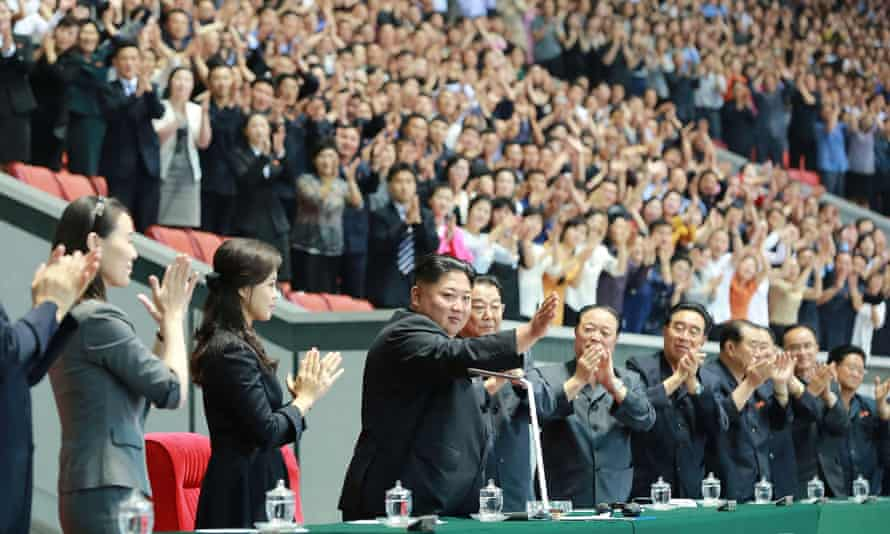 Kim Jong-un at the opening night of the games, in the 150,000-seat May Day Stadium, on Monday.