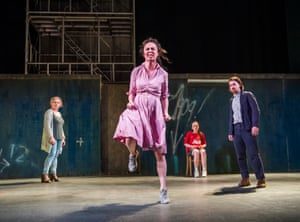 Janet Moran (Mrs Gogan), Kate Stanley Brennan (Nora Clitheroe), Julie Maguire (Mollser) and Ciaran O'Brien (the Young Covey) in The Plough and the Stars at the Lyric Hammersmith.