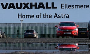 A Vauxhall Astra in front of the Ellesmere Port factory
