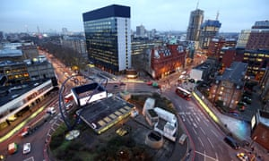 Traffic passes around the Old Street 'Silicon Roundabout' in London.