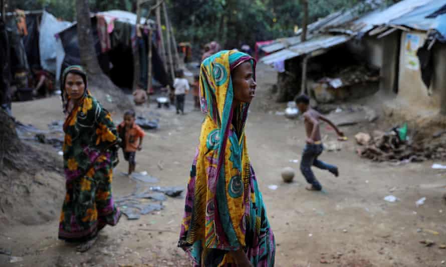 Rohingya refugees at a refugee camp near Cox's Bazar, Bangladesh.
