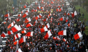 Protesters in Manama, the capital of Bahrain, stage an anti-government demonstration in February 2011