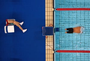 Avi Torres of Spain sets off at the start of the 200m freestyle heats in the Paralympic Games, Athens, 2004